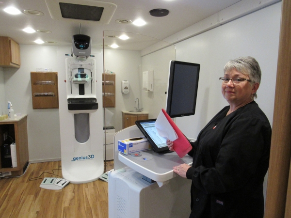Inside the mobile mammography unit