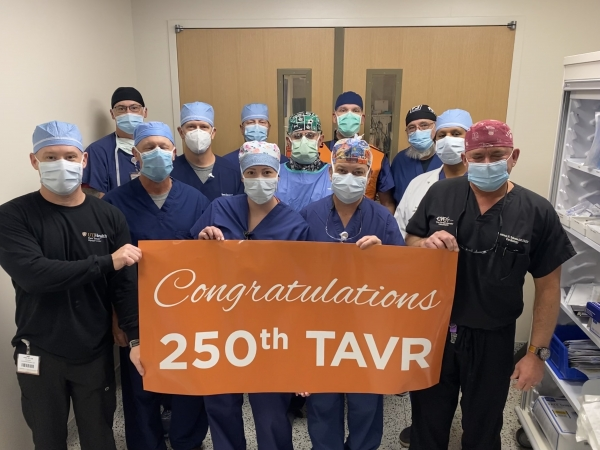 Caregivers at UT Health Tyler recently celebrated the 250th TAVR procedure at the hospital